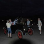 Chatting in the parking lot with old car buffs until well after dark