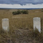Markers where two soldiers of Custer's Seventh Cavalry fell.