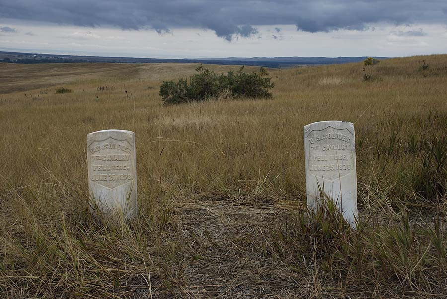 Markers where two soldiers of Custer's Seventh Cavelry fell.