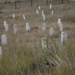 Stones marking the locations where Custer and his men fell at his last stand.