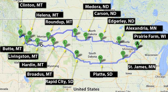 Model A trip route